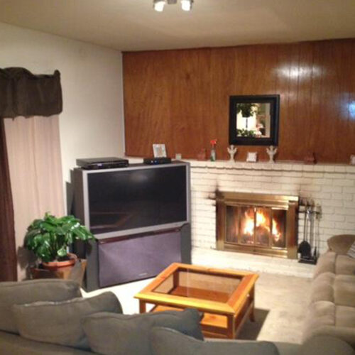 Living Room With TV And Fireplace (Side View)
